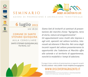 """Seminario – marchio d'area """"Agrigento, terra di storia, natura ed enogastronomia"""""""